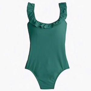 J Crew ruffled scoop back one piece swimsuit